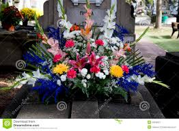 Grave Decoration Grave With Colorful Flowers Decoration Royalty Free Stock