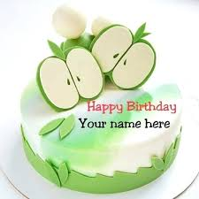 Birthday Wishes For Husband Edit Name Green Apple Birthday Cake With