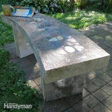stone inlay concrete bench