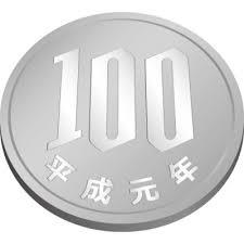 百円玉硬貨斜め上からのイラスト 無料商用可能メダル