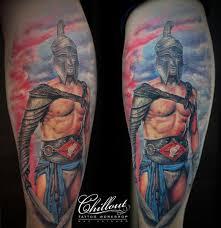 тату спартак на ноге Chillout Tattoo Workshop