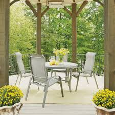 daytona 5 pc 48 inch round outdoor dining table with 4 slin chair canopy pads australia