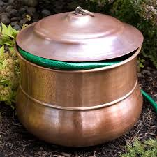 garden hose pot with lid. This Hose Pot Has Been Handcrafted From Solid Copper And Features Lightly Textured Detailing. 296931Signature Hardware Garden With Lid Signature