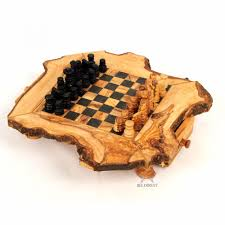Wooden Board Game Sets Olive Wood Chess Set Rustic Wooden Chess Board at BeldiNest 73