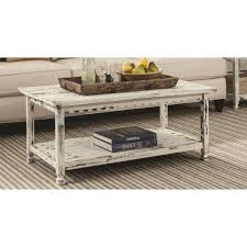 white distressed coffee table reclaimed wood antique country style shelf cottage