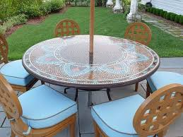 image of round patio table with umbrella hole