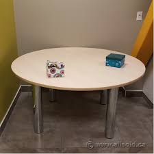 round meeting table with chrome legs