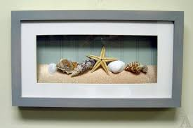 How To Decorate Shadow Boxes seashell wall decor bathroom 60d rectangle white grey seashell 19