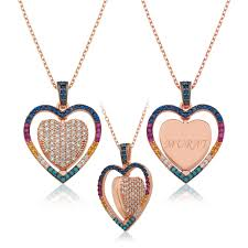 sterling silver double sided individual heart heart pendant necklace for women jewelry ottasilver