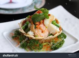 Wok Fried Seafood Pine Nut Crispy Stock ...