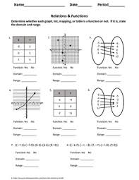 Algebra 1 Worksheet Relations Functions