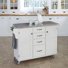 white rolling kitchen cart with stainless top island storage locking wheels