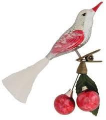 Edler Schöner Vogel Aus Glas Mit Glasfaserschweif Auf Nostlgischen Zwicker Mit 2 Glaskirschen Und