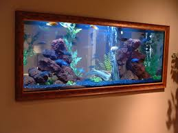 Decorations:Built In Wall Aquarium Designs Ideas Using Brown Wooden Frame  Built In Wall Aquarium
