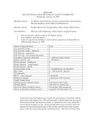 Occupational Health and Clinical Safety Committee Minutes: January 24, 2007