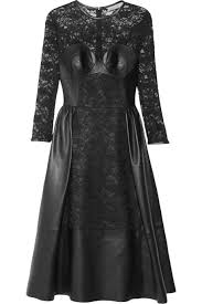 mulberry leather and lace dress