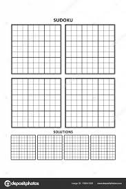Sudoku Template Sudoku Template Four Grids With Solutions On A4 Or Letter Sized