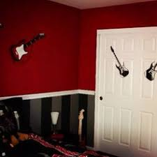 black red rooms. the compromise black stripes on bottom except for my sons rooms its gonna red o