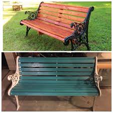 cast iron bench redone new boards even