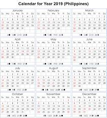 Moon Chart Calendar 2019 Philippines 2019 Calendar With Moon Phases Moon Phase