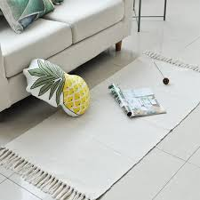 100 cotton hand woven white tassels rug durable machine washable floor mat area rugs carpet for bedroom kitchen laundry hallway berber carpet tiles
