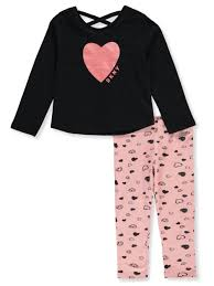 Dkny Baby Size Chart Dkny Baby Girls Drawn Hearts 2 Piece Leggings Set Outfit