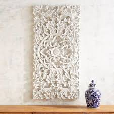 liliana white carved wall panel