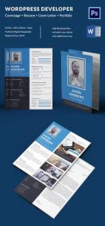 Modern Contemporary Resume Cover Letter Portfolio Wordpress Developer Resume Cover Letter Portfolio Template
