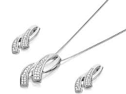 default image 9ct white gold diamond loop necklace and earring gift set 10pts d8611alternative image1