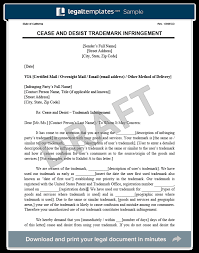 trademark infringement cease and desist letter
