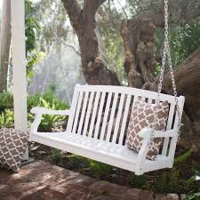 Coral Coast Pleasant Bay White Curved Back Porch Swing with Optional  Cushion | Hayneedle