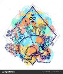 Lidská Lebka Jehož Prostřednictvím Květiny Barevné Tetování Umění