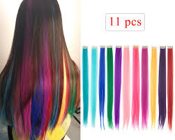 Light Pink Extensions Amazon Com 10 Pcs Deep Green Straight Clip On In Hair