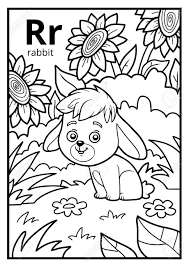 coloring book for children colorless alphabet letter r rabbit stock vector 81576224