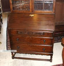 antique drop front secretary desk with 2 drawers
