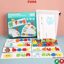 Bộ thẻ học ghép chữ tiếng anh spelling game cho bé FUHA, bộ 26 thẻ học  tiếng anh gồm 52 chữ cái giá cạnh tranh