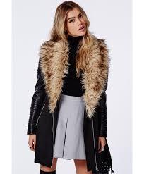 100 praise luxury faux fur big lapel warm winter women pu leather sleeve long trench