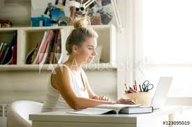 student sitting at desk side view. Fine Sitting Side View Portrait Of Beautiful Young Smiling Woman Working Or Studying  Using Laptop At Small Home On Student Sitting At Desk View D