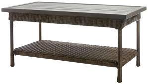 hampton bay table bay beacon park wicker outdoor coffee table with slat top