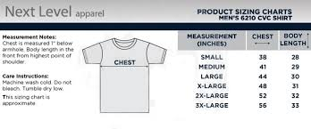 Next Level Cvc Size Chart Next Level Apparel 6210 Cvc Fitted T Shirt Size Chart
