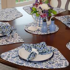 dining room amusing decoration ideas using dark blue quilted wedge placemats round table along with white