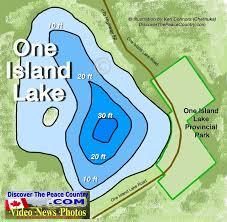 One Island Lake Depth Of Lake And Road Map One Island