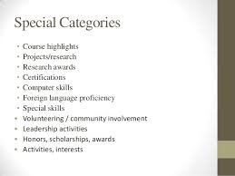 intro to resume and cover letter writing   special categories