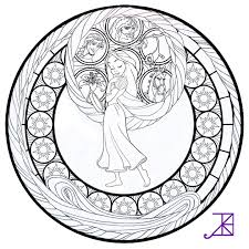 Stained Glass Coloring Pages Disney Tangled Coloringstar