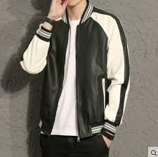 details about men slim faux leather baseball jacket loose casual spring pilot er coat yooo