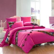 hot pink girls plaid ruffle bowtie fl queen size duvet cover bedding