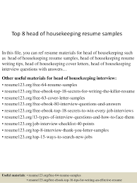 Housekeeping Resume Mesmerizing Top 60 Head Of Housekeeping Resume Samples