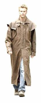 mens brown real leather duster steampunk riding trench coat most sizes