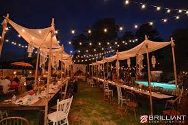 La Jolla Backyard Wedding Market Lights & Vintage Edison Lights