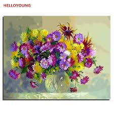 2019 helloyoung diy handpainted oil painting flowers digital painting by numbers oil paintings chinese scroll paintings home decor from cnpingmall05